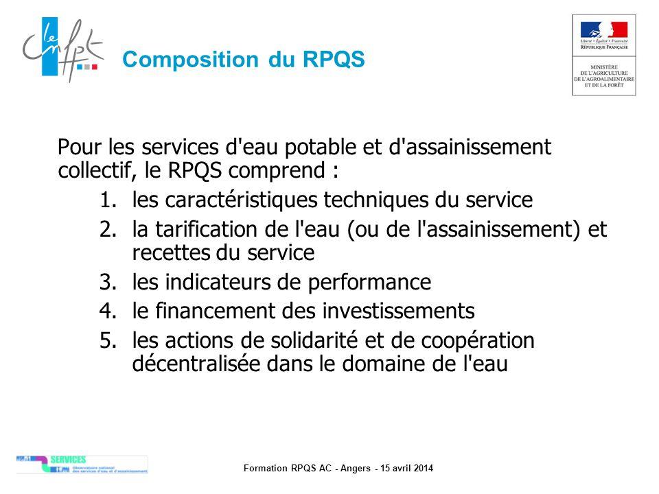 Formation RPQS AC - Angers - 15 avril 2014 Composition du RPQS Pour les services d'eau potable et d'assainissement collectif, le RPQS comprend : 1.les