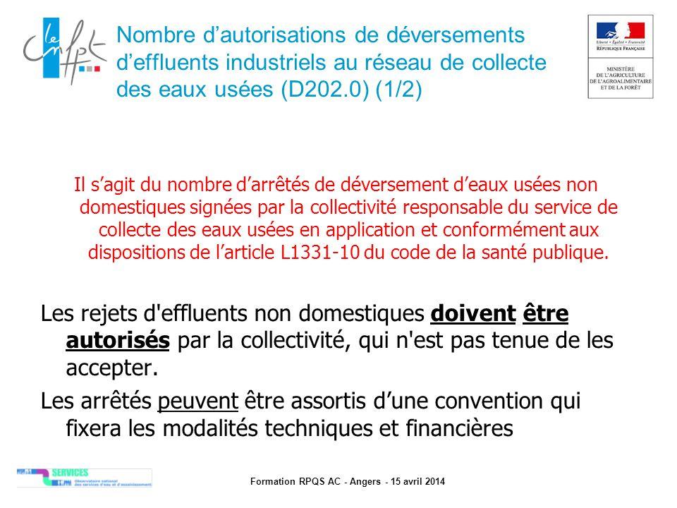 Formation RPQS AC - Angers - 15 avril 2014 Prix TTC du service au m3 pour 120m3 (D204.0) (1/2)  Prix TTC au m 3 pour 120 m 3 (consommation d'un abonné moyen) : en €/m 3  Inclus les taxes et redevances  Tarif en vigueur au 1er janvier de l'année N+1 (soit 1er janvier 2014 pour le RPQS de l'exercice 2013) et de N  Intégrer tous les tarifs de l'assainissement (part fixe, …)  Distinguer la part collectivité de la part délégataire  Explications d'une évolution importante (changement de mode de gestion, investissements à venir, …) A ne pas confondre avec le prix HT !