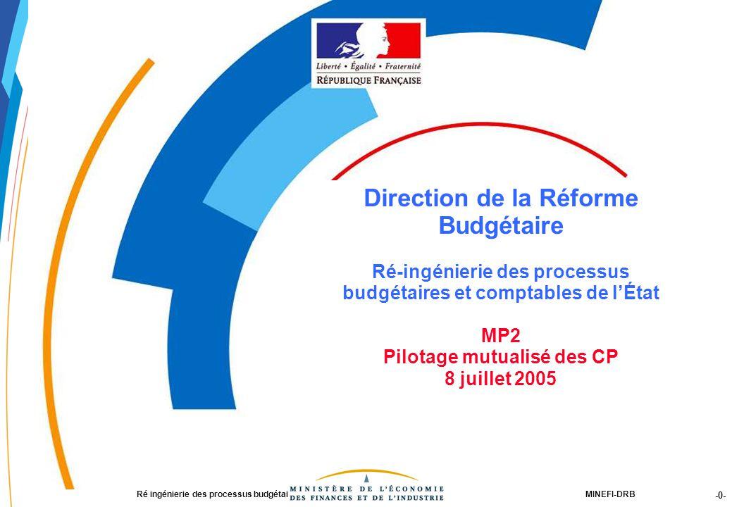 -0- 21188-00-PEBC réunion CF RT JLG-2Dec03-NM-Par.ppt MINEFI-DRBRé ingénierie des processus budgétaires et comptables de l'État Direction de la Réforme Budgétaire Ré-ingénierie des processus budgétaires et comptables de l'État MP2 Pilotage mutualisé des CP 8 juillet 2005