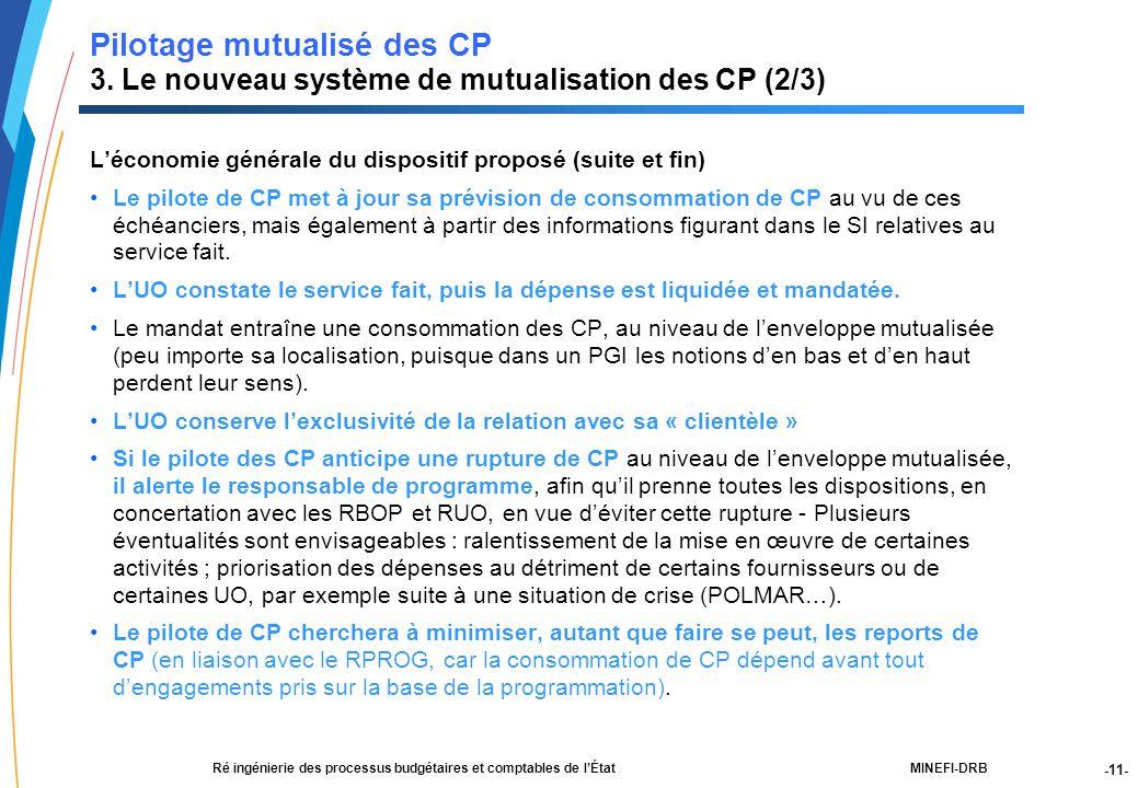 -11- 21188-00-PEBC réunion CF RT JLG-2Dec03-NM-Par.ppt MINEFI-DRBRé ingénierie des processus budgétaires et comptables de l'État Pilotage mutualisé des CP 3.