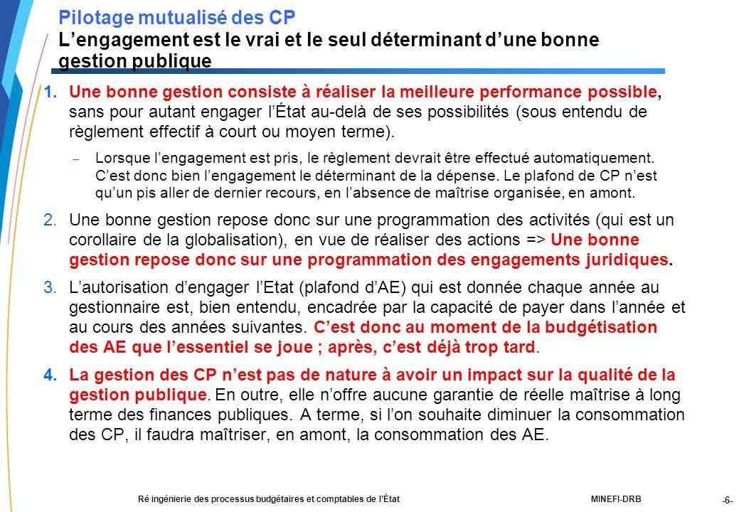 -6- 21188-00-PEBC réunion CF RT JLG-2Dec03-NM-Par.ppt MINEFI-DRBRé ingénierie des processus budgétaires et comptables de l'État Pilotage mutualisé des CP L'engagement est le vrai et le seul déterminant d'une bonne gestion publique 1.Une bonne gestion consiste à réaliser la meilleure performance possible, sans pour autant engager l'État au-delà de ses possibilités (sous entendu de règlement effectif à court ou moyen terme).