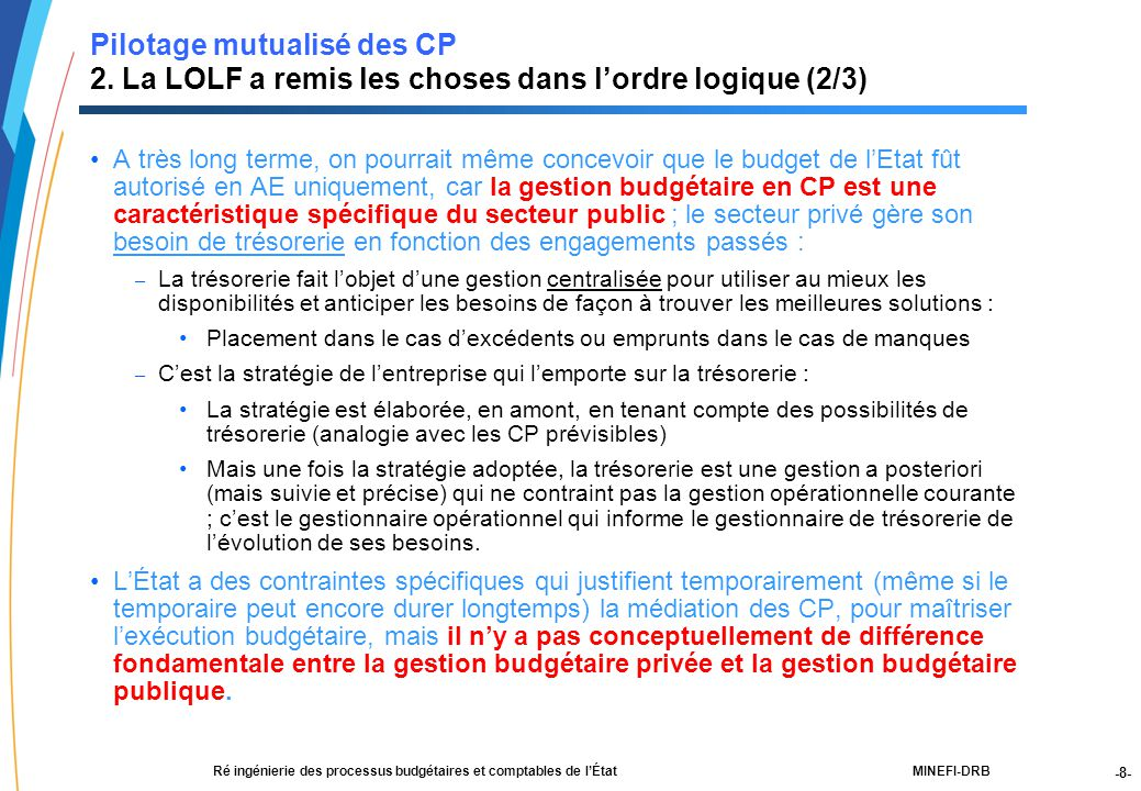 -8- 21188-00-PEBC réunion CF RT JLG-2Dec03-NM-Par.ppt MINEFI-DRBRé ingénierie des processus budgétaires et comptables de l'État Pilotage mutualisé des CP 2.