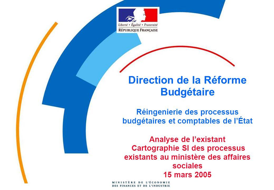 Direction de la Réforme Budgétaire Réingenierie des processus budgétaires et comptables de l'État Analyse de l'existant Cartographie SI des processus existants au ministère des affaires sociales 15 mars 2005