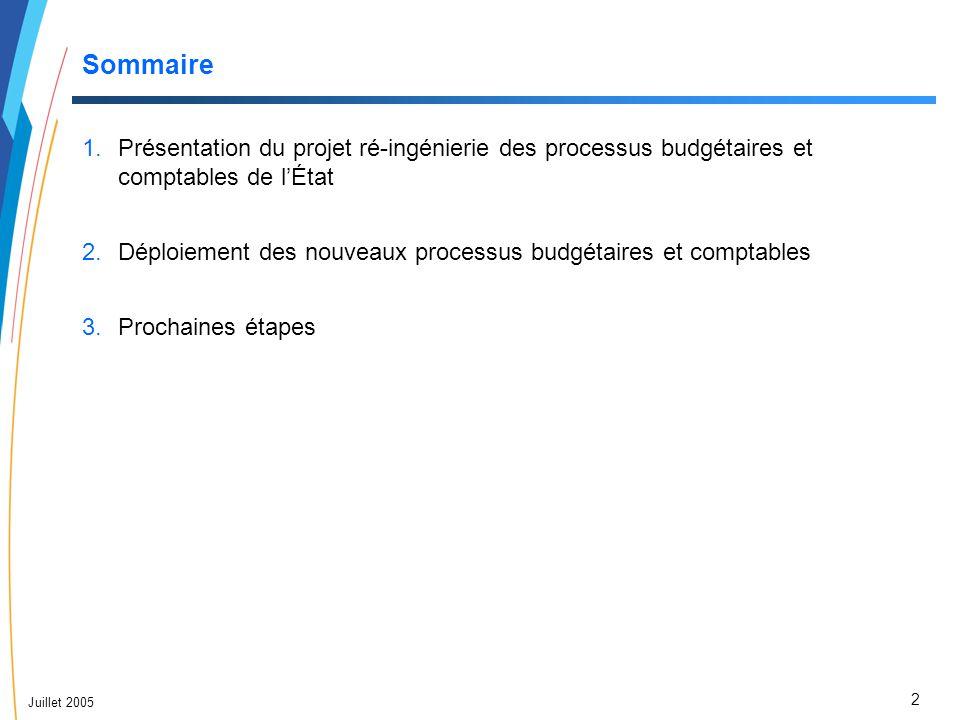 2 Juillet 2005 Sommaire 1.Présentation du projet ré-ingénierie des processus budgétaires et comptables de l'État 2.Déploiement des nouveaux processus