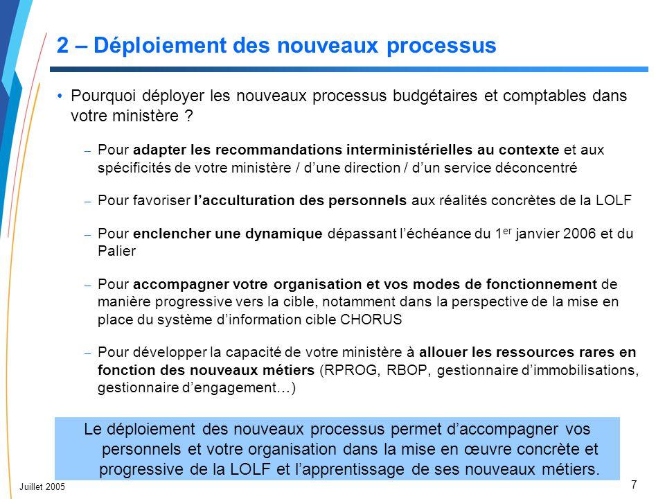 8 Juillet 2005 2 – Déploiement des nouveaux processus Définition et objectifs d'un plan de déploiement Le plan de déploiement comporte quatre éléments clés : La définition de la Stratégie de déploiement : – Que déploie-t-on .