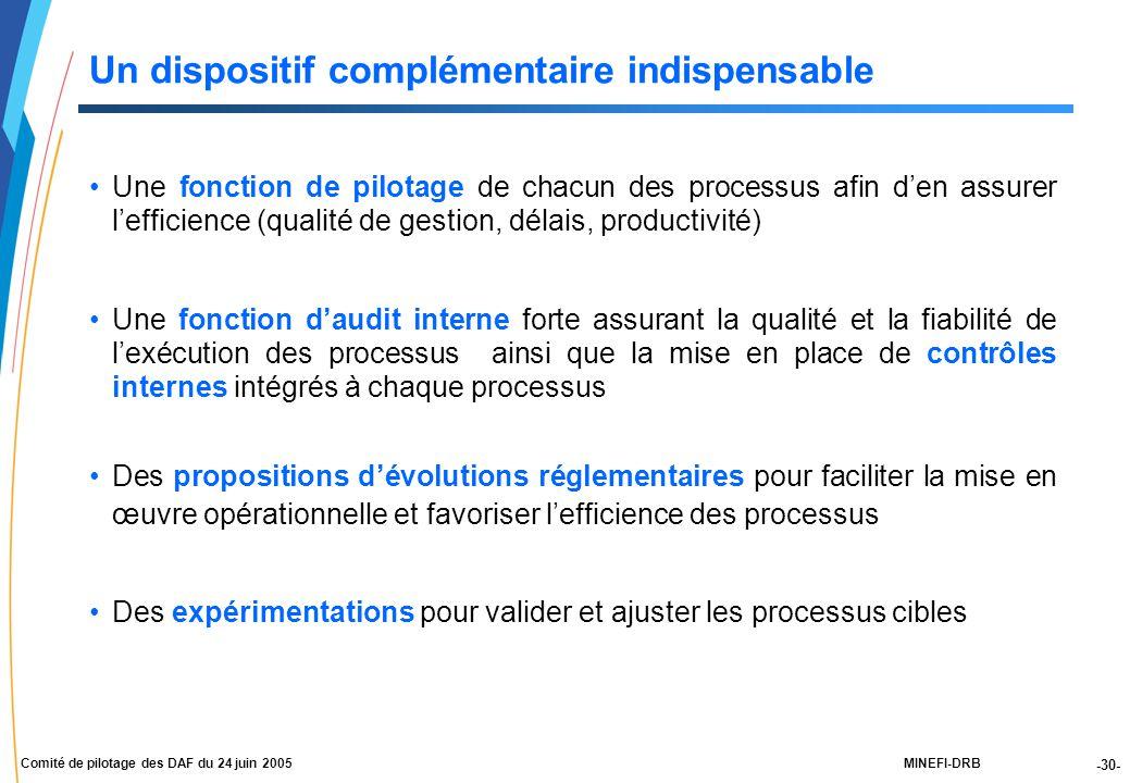 -30- MINEFI-DRBComité de pilotage des DAF du 24 juin 2005 Une fonction de pilotage de chacun des processus afin d'en assurer l'efficience (qualité de gestion, délais, productivité) Une fonction d'audit interne forte assurant la qualité et la fiabilité de l'exécution des processus ainsi que la mise en place de contrôles internes intégrés à chaque processus Des propositions d'évolutions réglementaires pour faciliter la mise en œuvre opérationnelle et favoriser l'efficience des processus Des expérimentations pour valider et ajuster les processus cibles Un dispositif complémentaire indispensable