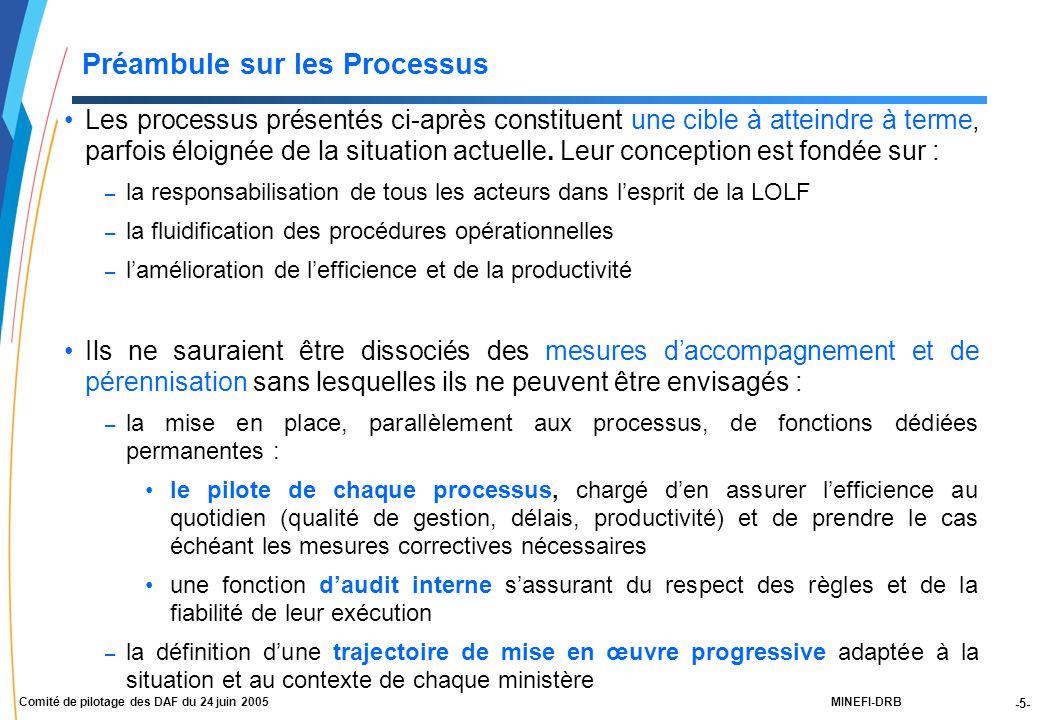 -5- MINEFI-DRBComité de pilotage des DAF du 24 juin 2005 Préambule sur les Processus Les processus présentés ci-après constituent une cible à atteindre à terme, parfois éloignée de la situation actuelle.