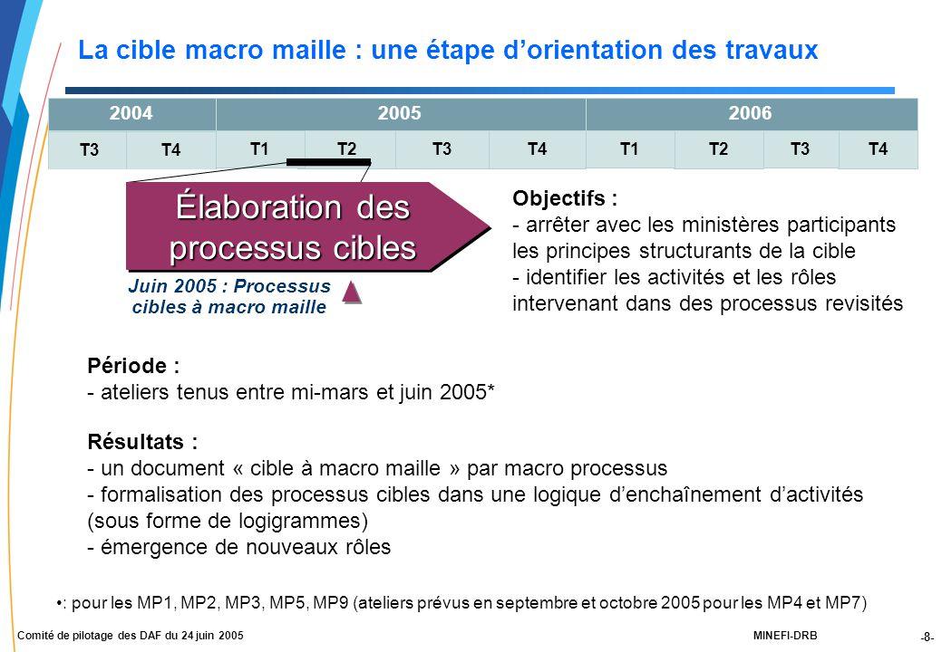 -8- MINEFI-DRBComité de pilotage des DAF du 24 juin 2005 T4 T3 T2T3T4T2 T1 2004 T3T4 2005 T1 2006 Objectifs : - arrêter avec les ministères participants les principes structurants de la cible - identifier les activités et les rôles intervenant dans des processus revisités Période : - ateliers tenus entre mi-mars et juin 2005* Résultats : - un document « cible à macro maille » par macro processus - formalisation des processus cibles dans une logique d'enchaînement d'activités (sous forme de logigrammes) - émergence de nouveaux rôles Élaboration des processus cibles La cible macro maille : une étape d'orientation des travaux Juin 2005 : Processus cibles à macro maille : pour les MP1, MP2, MP3, MP5, MP9 (ateliers prévus en septembre et octobre 2005 pour les MP4 et MP7)