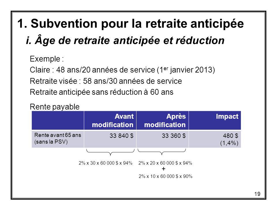 1. Subvention pour la retraite anticipée Exemple : Claire : 48 ans/20 années de service (1 er janvier 2013) Retraite visée : 58 ans/30 années de servi