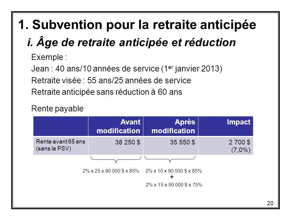 1. Subvention pour la retraite anticipée Exemple : Jean : 40 ans/10 années de service (1 er janvier 2013) Retraite visée : 55 ans/25 années de service