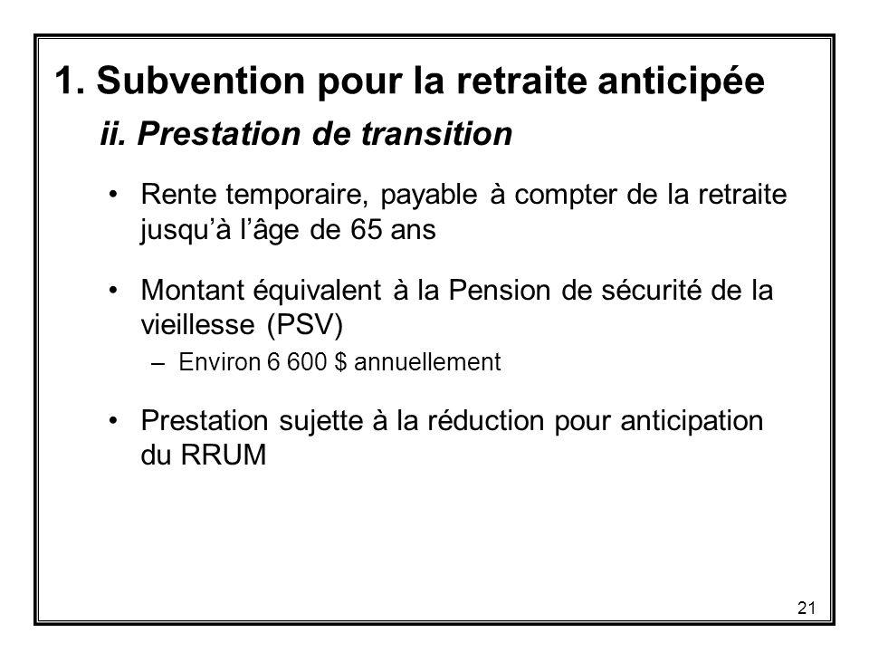 1. Subvention pour la retraite anticipée Rente temporaire, payable à compter de la retraite jusqu'à l'âge de 65 ans Montant équivalent à la Pension de