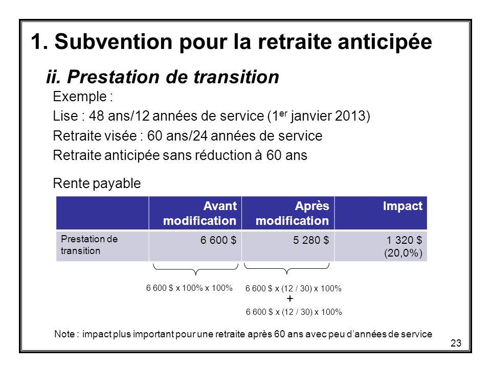 1. Subvention pour la retraite anticipée Exemple : Lise : 48 ans/12 années de service (1 er janvier 2013) Retraite visée : 60 ans/24 années de service