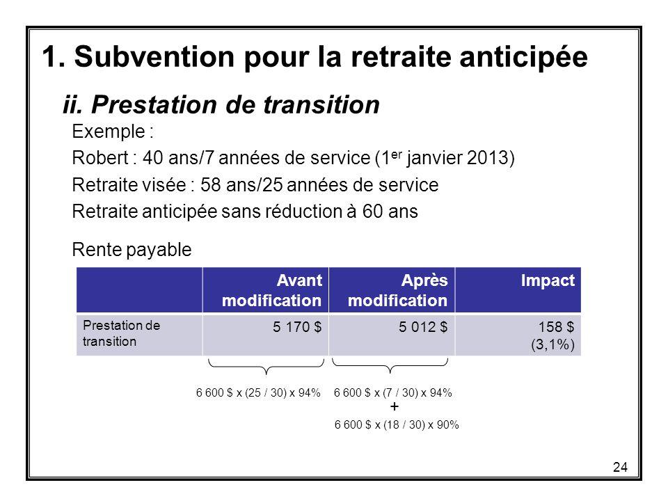 1. Subvention pour la retraite anticipée Exemple : Robert : 40 ans/7 années de service (1 er janvier 2013) Retraite visée : 58 ans/25 années de servic