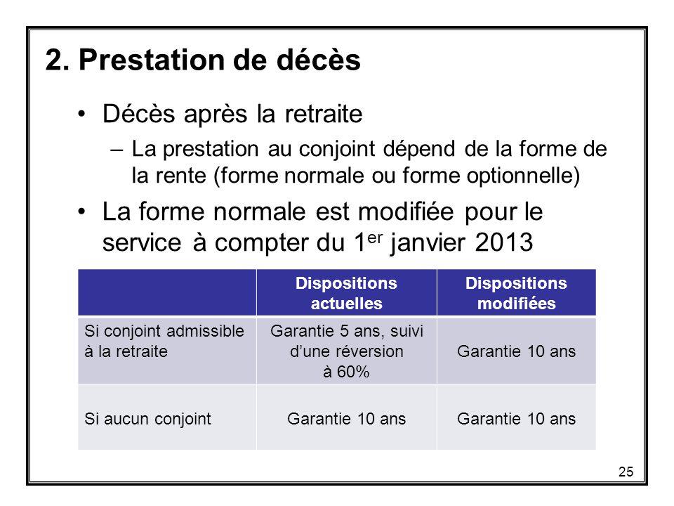 Décès après la retraite –La prestation au conjoint dépend de la forme de la rente (forme normale ou forme optionnelle) La forme normale est modifiée pour le service à compter du 1 er janvier 2013 2.