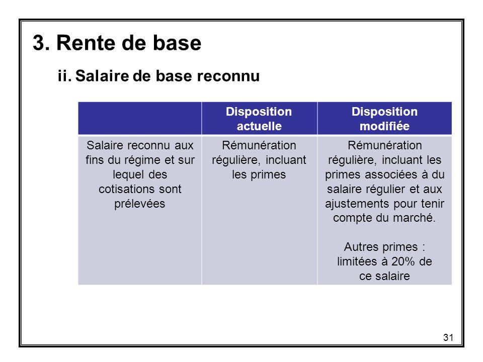 Disposition actuelle Disposition modifiée Salaire reconnu aux fins du régime et sur lequel des cotisations sont prélevées Rémunération régulière, incluant les primes Rémunération régulière, incluant les primes associées à du salaire régulier et aux ajustements pour tenir compte du marché.