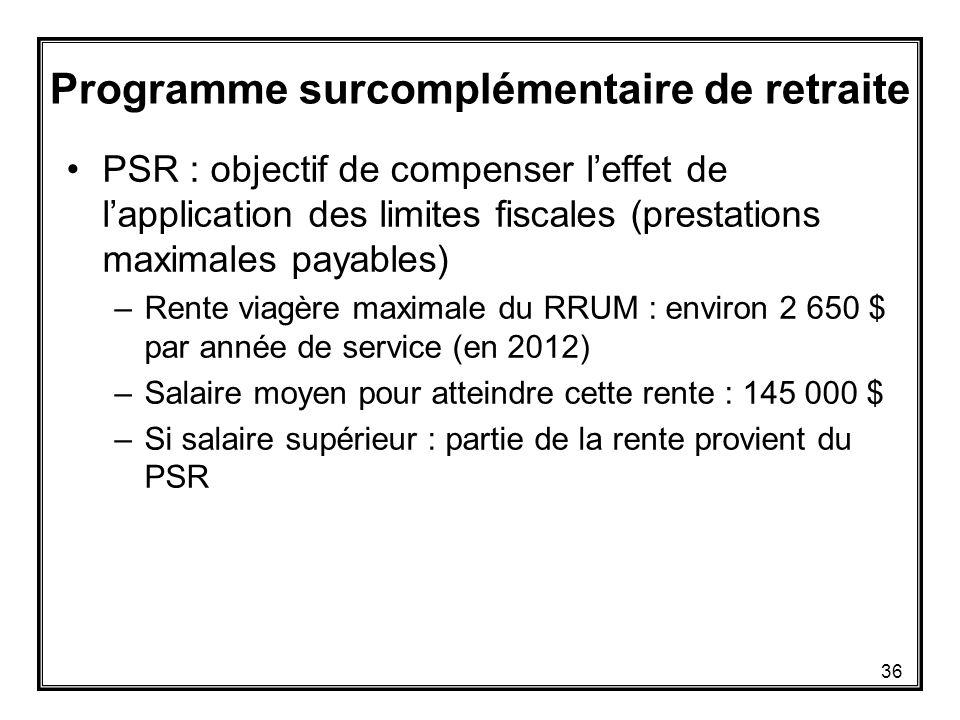 PSR : objectif de compenser l'effet de l'application des limites fiscales (prestations maximales payables) –Rente viagère maximale du RRUM : environ 2 650 $ par année de service (en 2012) –Salaire moyen pour atteindre cette rente : 145 000 $ –Si salaire supérieur : partie de la rente provient du PSR Programme surcomplémentaire de retraite 36