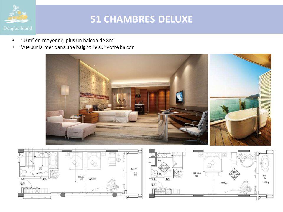 18 SUITES 65 m² en moyenne, plus un balcon de 16m² Chambre et salon séparés Vue sur la mer dans une baignoire sur votre balcon