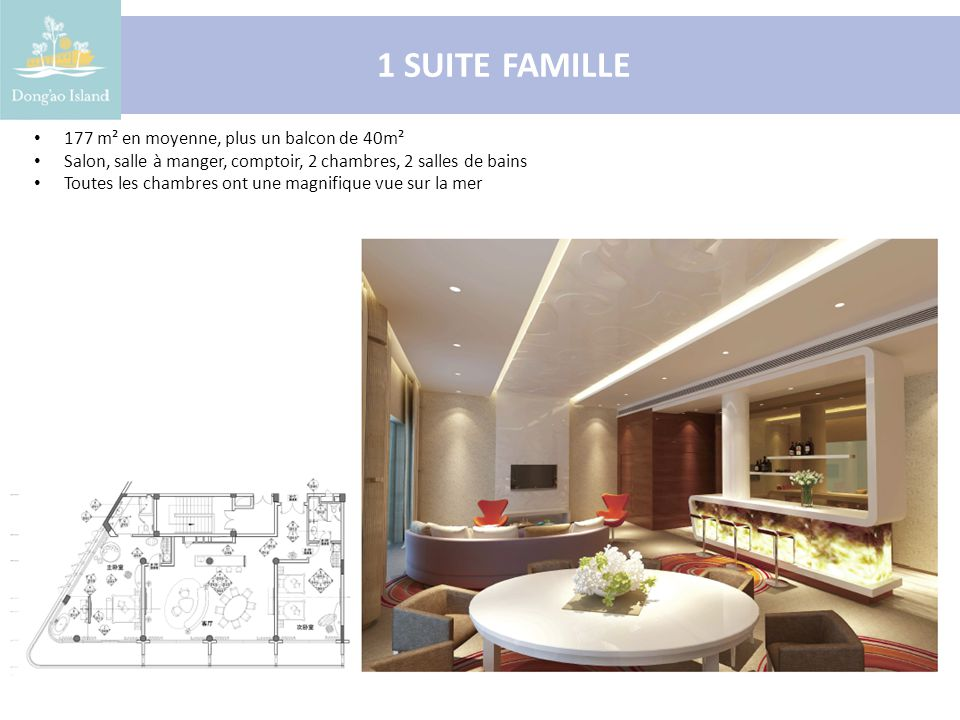 1 SUITE FAMILLE 177 m² en moyenne, plus un balcon de 40m² Salon, salle à manger, comptoir, 2 chambres, 2 salles de bains Toutes les chambres ont une magnifique vue sur la mer