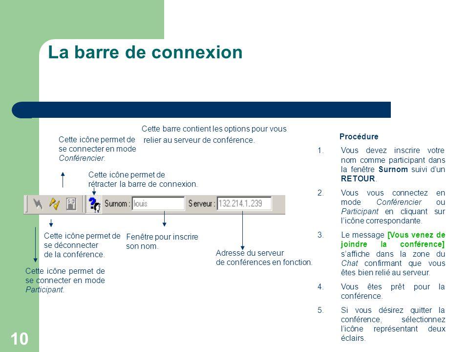 10 La barre de connexion Cette barre contient les options pour vous relier au serveur de conférence.