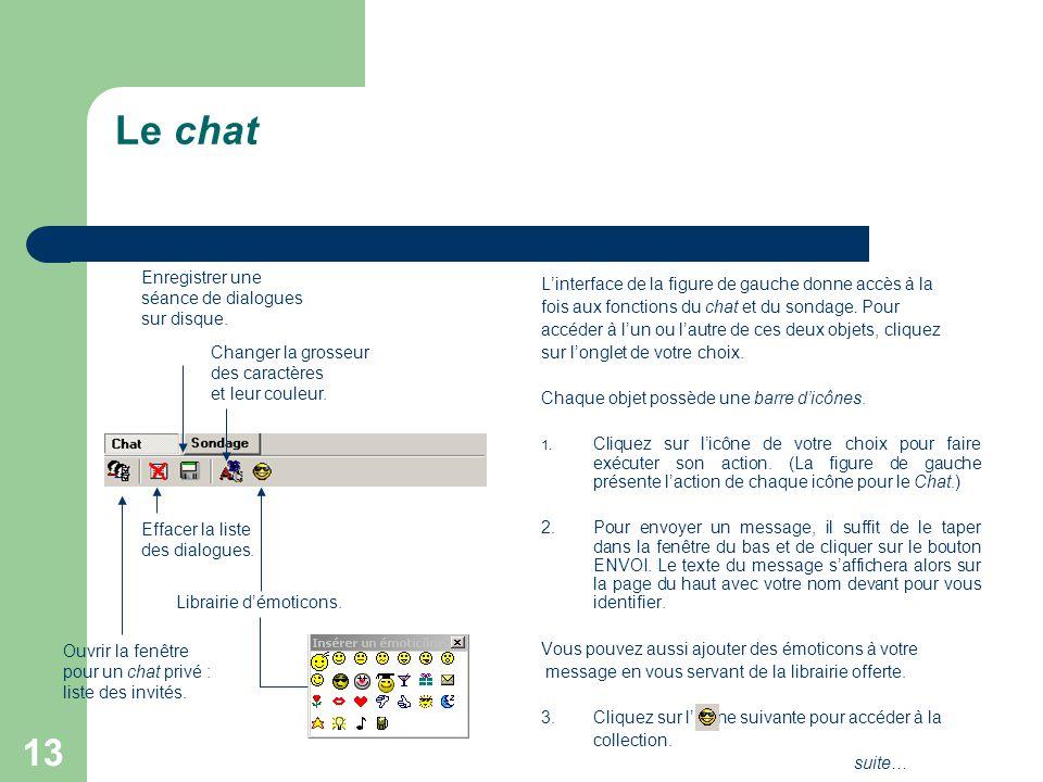 13 Le chat L'interface de la figure de gauche donne accès à la fois aux fonctions du chat et du sondage.