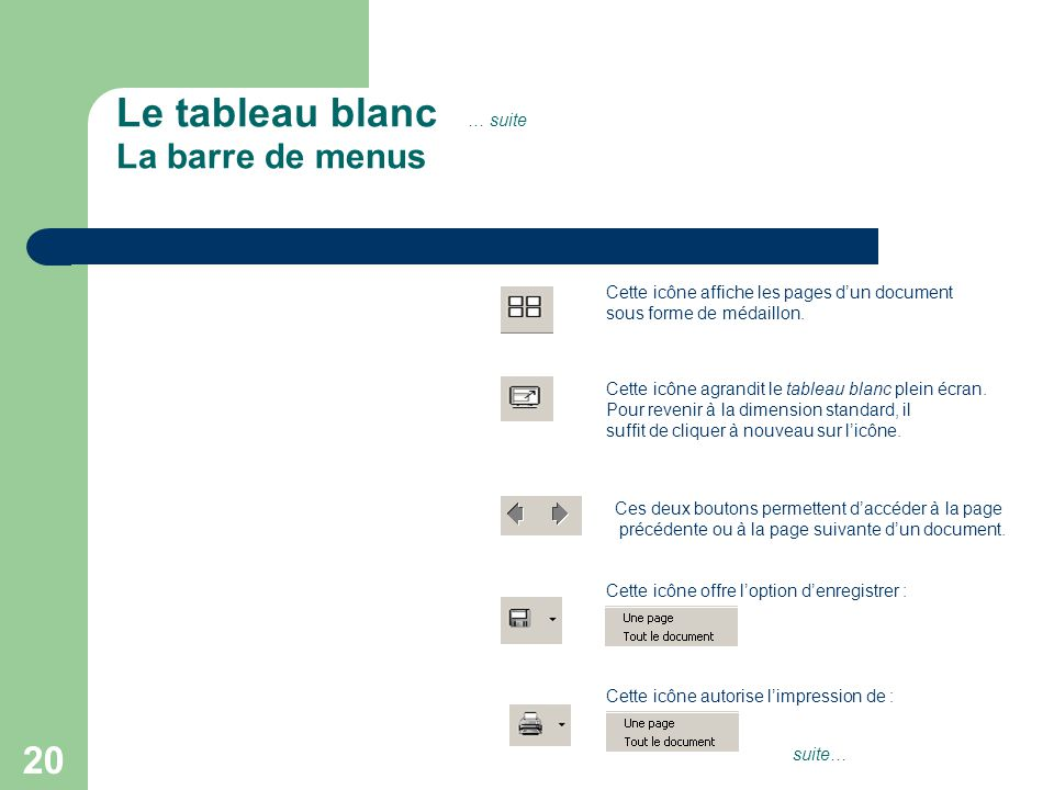 20 Le tableau blanc … suite La barre de menus Cette icône affiche les pages d'un document sous forme de médaillon.