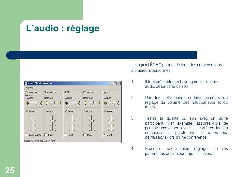 25 L'audio : réglage Le logiciel ÉCHO permet de tenir des conversations à plusieurs personnes.
