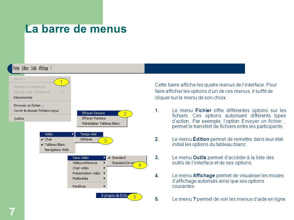 7 La barre de menus Cette barre affiche les quatre menus de l'interface.