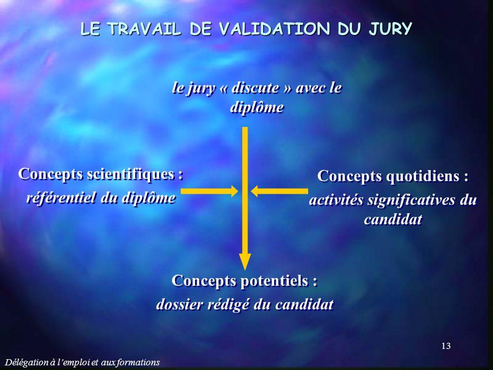 Délégation à l'emploi et aux formations 13 LE TRAVAIL DE VALIDATION DU JURY le jury « discute » avec le diplôme Concepts scientifiques : référentiel d