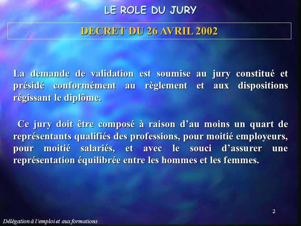 Délégation à l'emploi et aux formations 3 Le jury décide de l'attribution du diplôme, du titre ou du certificat de qualification.