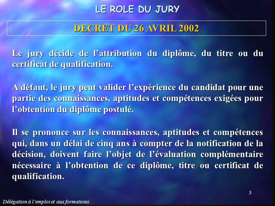 Délégation à l'emploi et aux formations 3 Le jury décide de l'attribution du diplôme, du titre ou du certificat de qualification. A défaut, le jury pe
