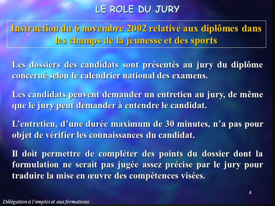 Délégation à l'emploi et aux formations 5 LE ROLE DU JURY Le jury, au vu du dossier et d'un entretien éventuel, peut attribuer la totalité du diplôme.