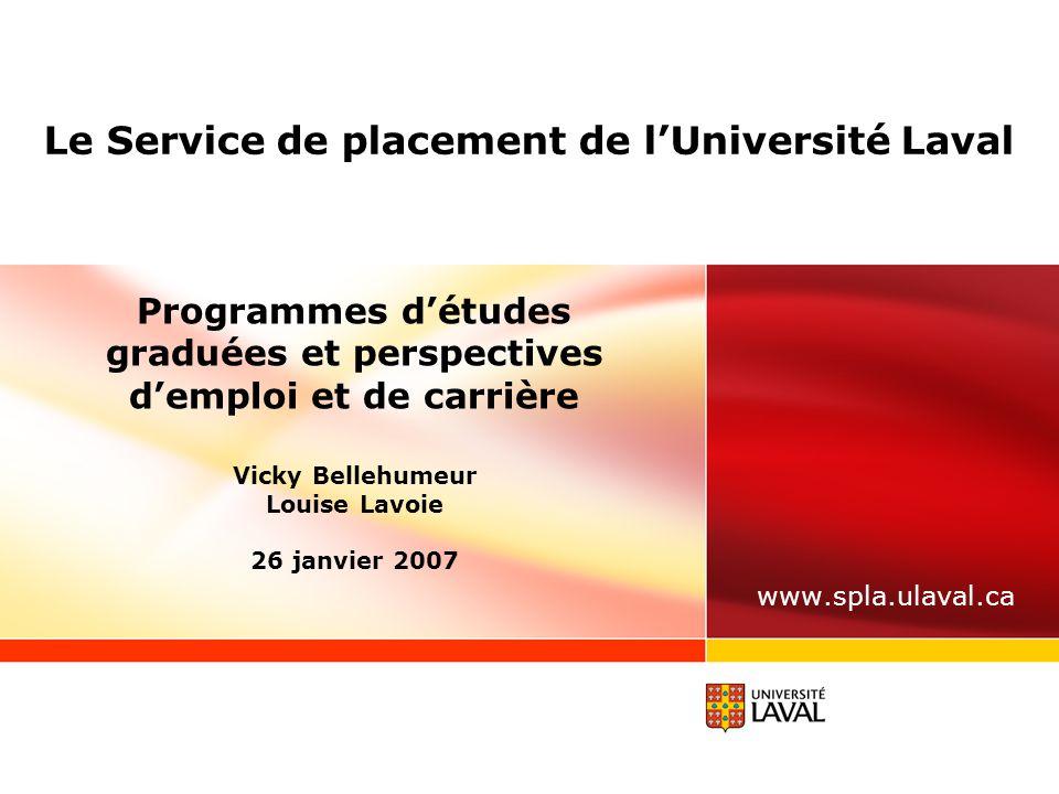 www.ulaval.ca 12 PORTRAIT « RELANCE » EN 2005 Titulaire de doctorat (suite) Caractéristiques de l'emploi 89,6 % temps plein Salaire moyen : 1 137 $/semaine 91 % en lien avec la formation Taille des entreprises qui recrutent : - 7,8 %, moins de 25 employés - 8,9 % de 26 à 99 employés - 13,2 % de 100 à 499 employés - 70,1 % plus de 500 employés