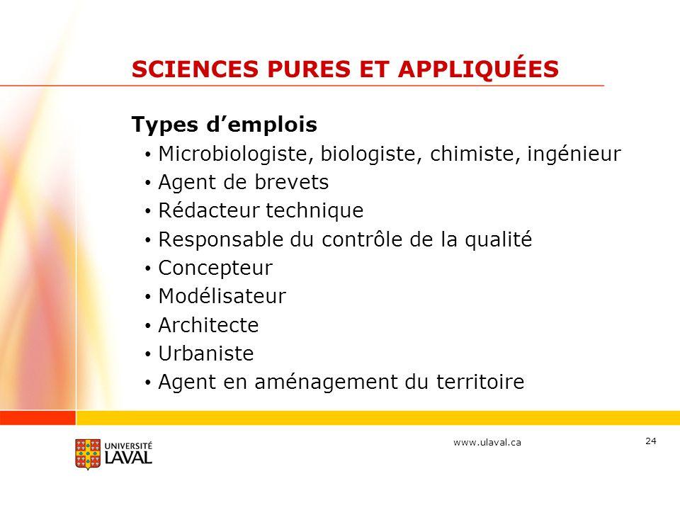 www.ulaval.ca 24 SCIENCES PURES ET APPLIQUÉES Types d'emplois Microbiologiste, biologiste, chimiste, ingénieur Agent de brevets Rédacteur technique Re