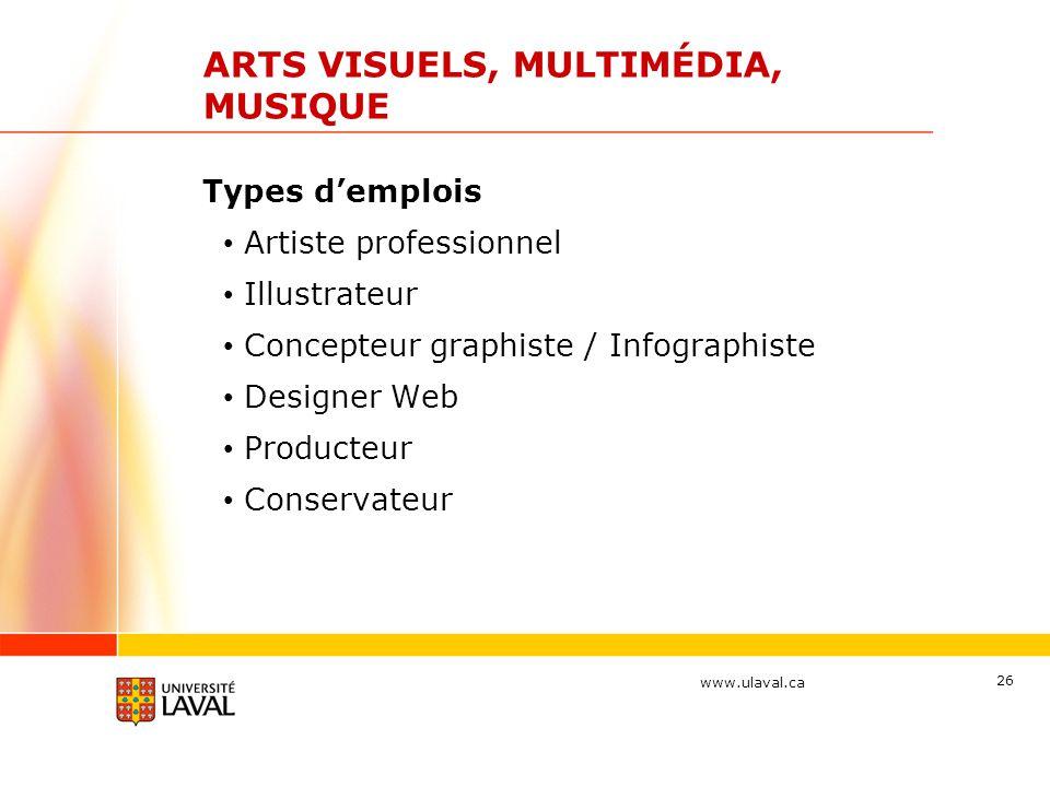 www.ulaval.ca 26 ARTS VISUELS, MULTIMÉDIA, MUSIQUE Types d'emplois Artiste professionnel Illustrateur Concepteur graphiste / Infographiste Designer We