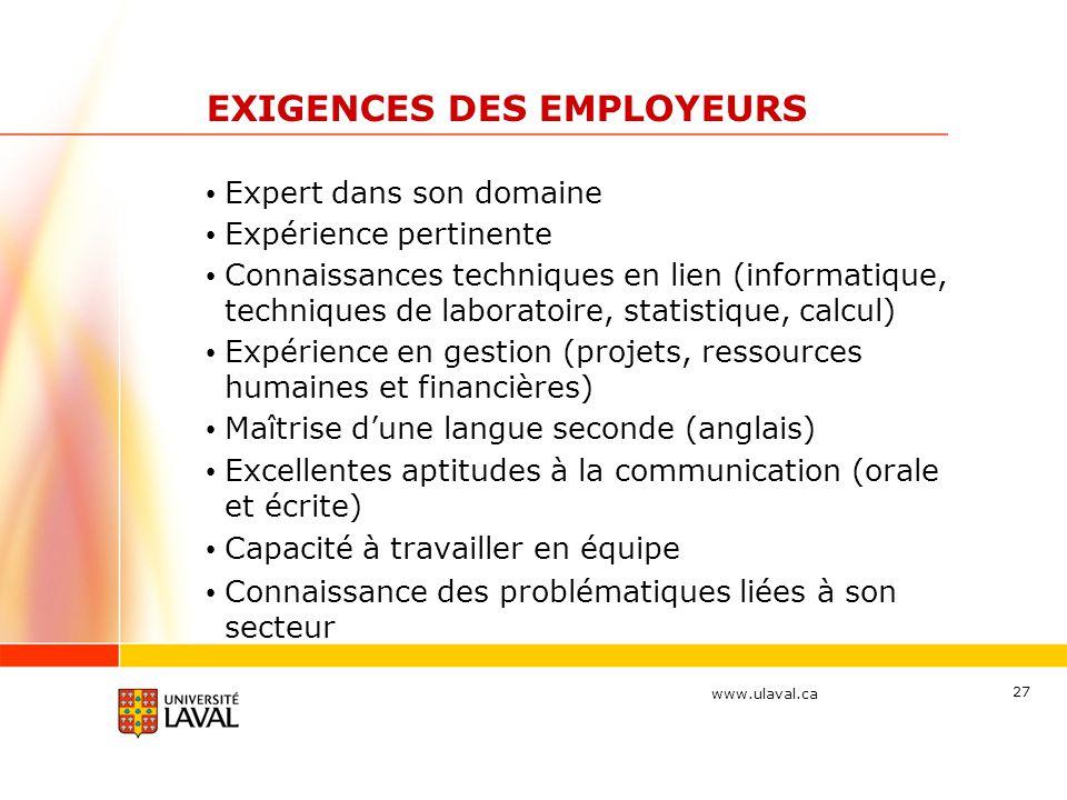 www.ulaval.ca 27 EXIGENCES DES EMPLOYEURS Expert dans son domaine Expérience pertinente Connaissances techniques en lien (informatique, techniques de