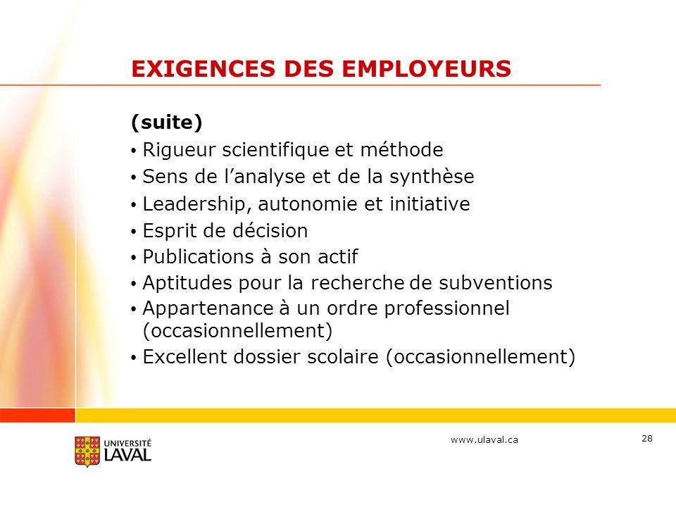 www.ulaval.ca 28 EXIGENCES DES EMPLOYEURS (suite) Rigueur scientifique et méthode Sens de l'analyse et de la synthèse Leadership, autonomie et initiat