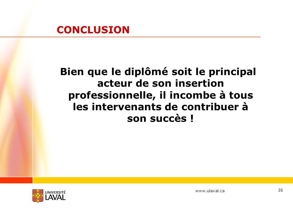 www.ulaval.ca 35 CONCLUSION Bien que le diplômé soit le principal acteur de son insertion professionnelle, il incombe à tous les intervenants de contr