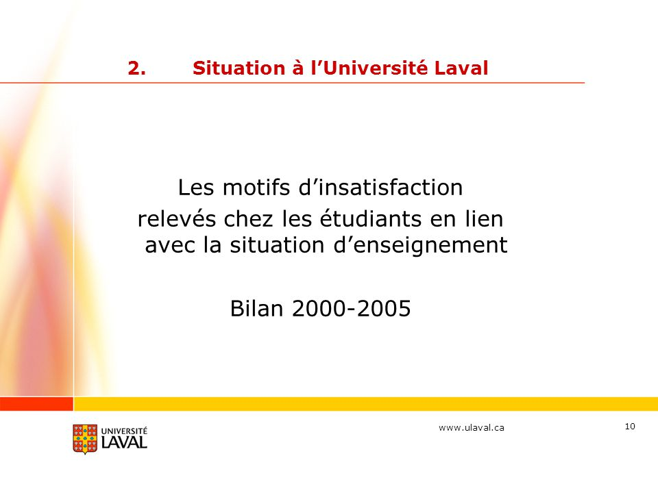 www.ulaval.ca 10 2.Situation à l'Université Laval Les motifs d'insatisfaction relevés chez les étudiants en lien avec la situation d'enseignement Bilan 2000-2005