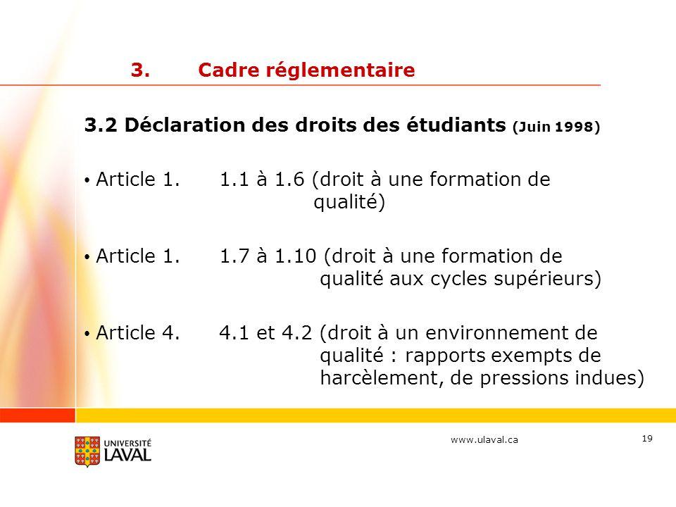 www.ulaval.ca 19 3.Cadre réglementaire 3.2 Déclaration des droits des étudiants (Juin 1998) Article 1.1.1 à 1.6 (droit à une formation de qualité) Article 1.1.7 à 1.10 (droit à une formation de qualité aux cycles supérieurs) Article 4.4.1 et 4.2 (droit à un environnement de qualité : rapports exempts de harcèlement, de pressions indues)