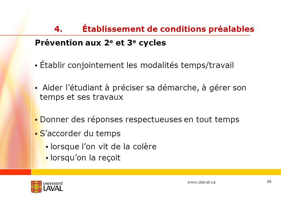 www.ulaval.ca 30 4.Établissement de conditions préalables Prévention aux 2 e et 3 e cycles Établir conjointement les modalités temps/travail Aider l'é