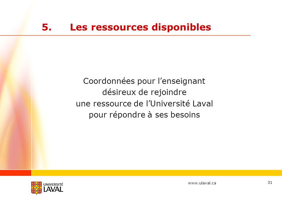 www.ulaval.ca 31 5.Les ressources disponibles Coordonnées pour l'enseignant désireux de rejoindre une ressource de l'Université Laval pour répondre à ses besoins