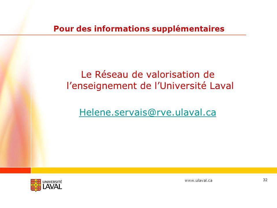 www.ulaval.ca 32 Pour des informations supplémentaires Le Réseau de valorisation de l'enseignement de l'Université Laval Helene.servais@rve.ulaval.ca