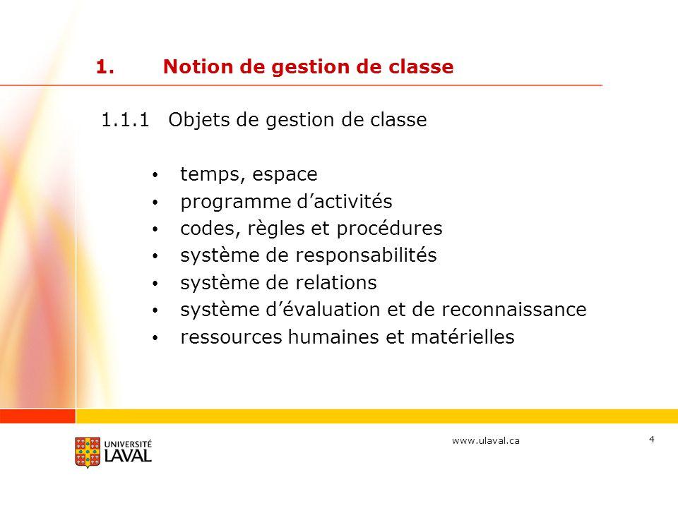 www.ulaval.ca 4 1.Notion de gestion de classe 1.1.1Objets de gestion de classe temps, espace programme d'activités codes, règles et procédures système de responsabilités système de relations système d'évaluation et de reconnaissance ressources humaines et matérielles
