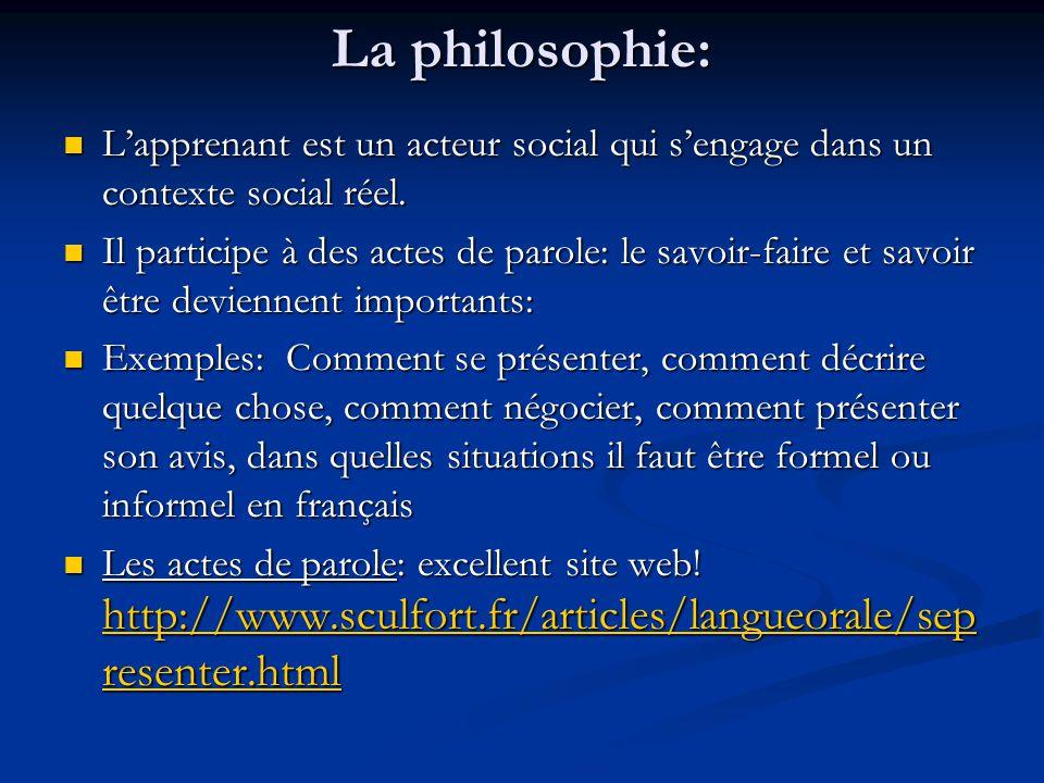 La philosophie: L'apprenant est un acteur social qui s'engage dans un contexte social réel. L'apprenant est un acteur social qui s'engage dans un cont