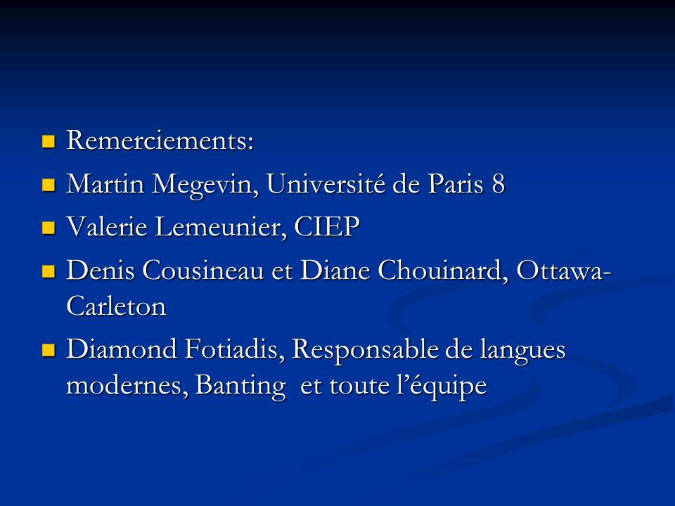 Remerciements: Remerciements: Martin Megevin, Université de Paris 8 Martin Megevin, Université de Paris 8 Valerie Lemeunier, CIEP Valerie Lemeunier, C