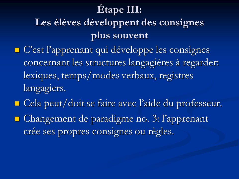 Étape III: Les élèves développent des consignes plus souvent C'est l'apprenant qui développe les consignes concernant les structures langagières à reg