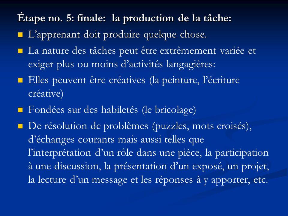 Étape no. 5: finale: la production de la tâche: L'apprenant doit produire quelque chose. L'apprenant doit produire quelque chose. La nature des tâches