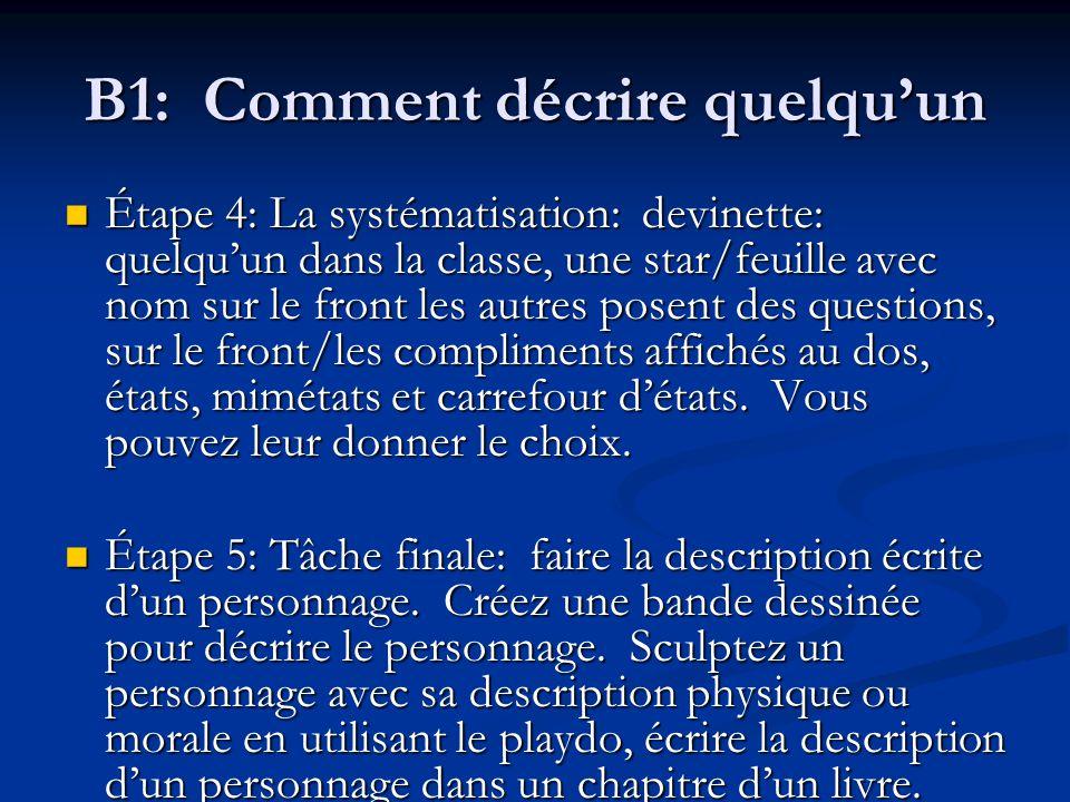 B1: Comment décrire quelqu'un Étape 4: La systématisation: devinette: quelqu'un dans la classe, une star/feuille avec nom sur le front les autres pose