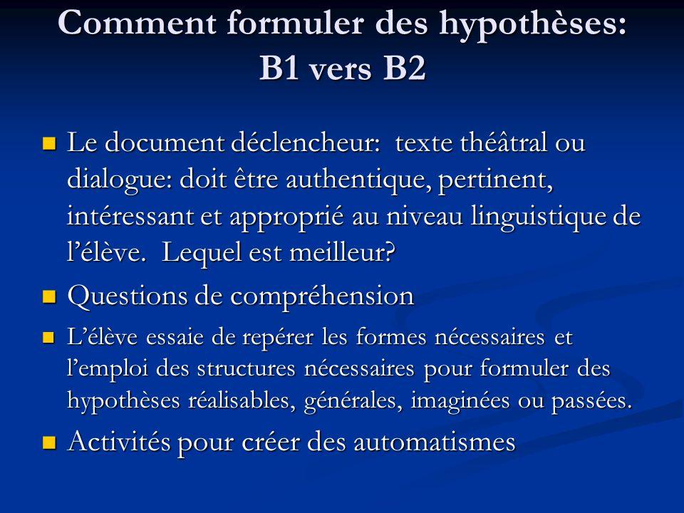 Comment formuler des hypothèses: B1 vers B2 Le document déclencheur: texte théâtral ou dialogue: doit être authentique, pertinent, intéressant et appr