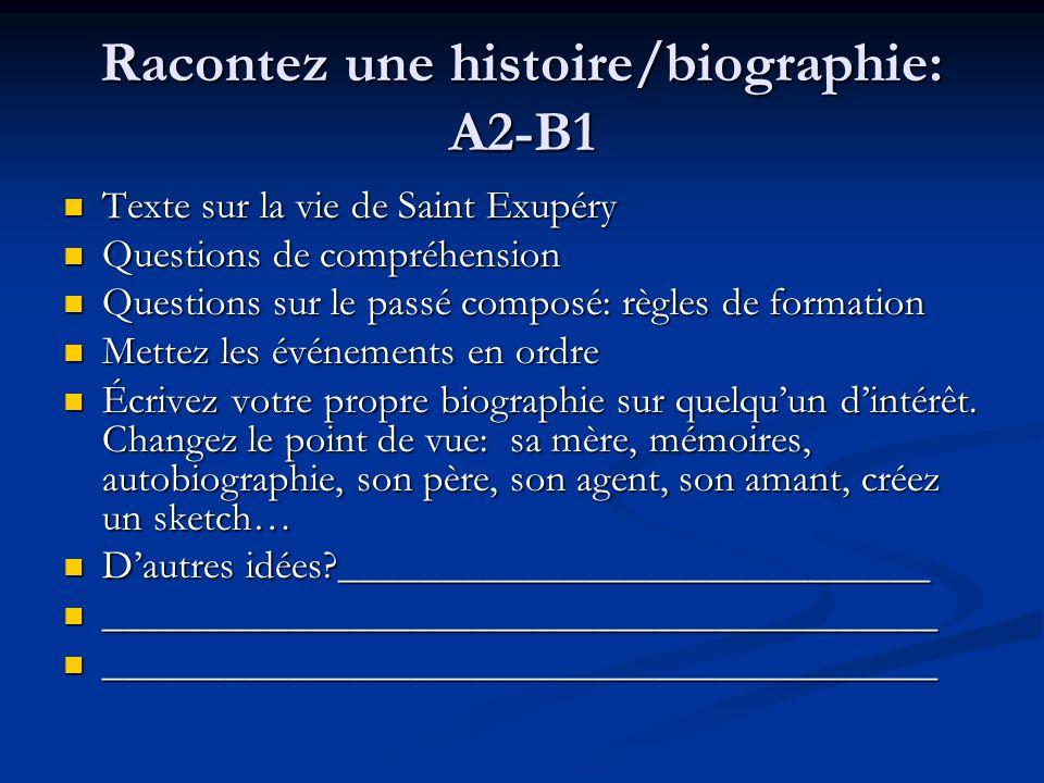 Racontez une histoire/biographie: A2-B1 Texte sur la vie de Saint Exupéry Texte sur la vie de Saint Exupéry Questions de compréhension Questions de co